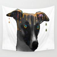 greyhound Wall Tapestries featuring Greyhound BW by Marlene Watson