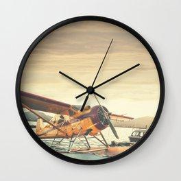 Floatplane in Sunset Wall Clock
