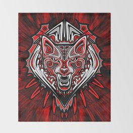 Wolf Tattoo Style Haida Art Throw Blanket
