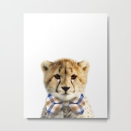Baby Cheetah With Bow Tie, Baby Animals Art Print By Synplus Metal Print