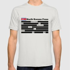 North Korea News Paper Silver SMALL Mens Fitted Tee