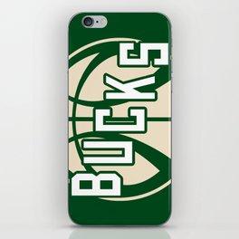 Bucks basketball vintage green logo iPhone Skin