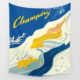 Vintage Champery Switzerland Travel Wall Tapestry