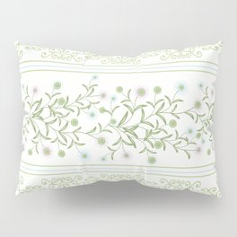 Delicate floral pattern with decorative bands. Pillow Sham