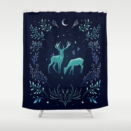 Deers in the Moonlight - Frosted Mint Shower Curtain