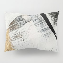 Armor [9]: a minimal abstract piece in black white and gold by Alyssa Hamilton Art Pillow Sham