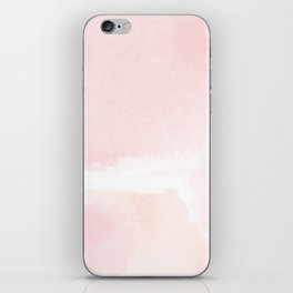 Pastel pink white modern hand painted watercolor. iPhone Skin