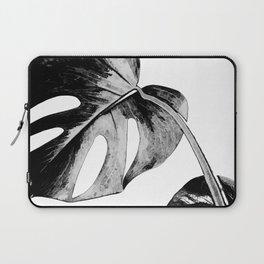 Black monstera leaves watercolor Laptop Sleeve