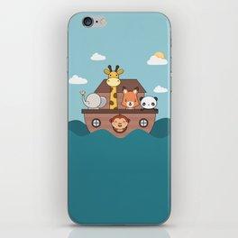 Kawaii Cute Zoo Animals On A Boat iPhone Skin