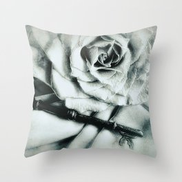 Rose and Old Key Vintage Style Modern Country Modern Cottage Art A481 Throw Pillow