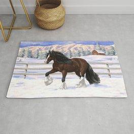 Beautiful Brown & White Bay Gypsy Vanner Draft Horse In Snow Rug