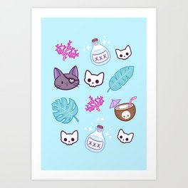 Pirate Cat // Turquoise Kunstdrucke