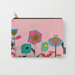 Mid century flowers pink Carry-All Pouch