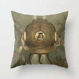 """""""The Bathysphere"""" by David Delamare Throw Pillow"""