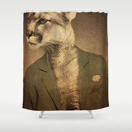 Animal tee vintage graphic design Shower Curtain