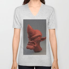 Cobold creature sculpt (red material) Unisex V-Neck