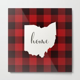 Ohio is Home - Buffalo Check Plaid Metal Print