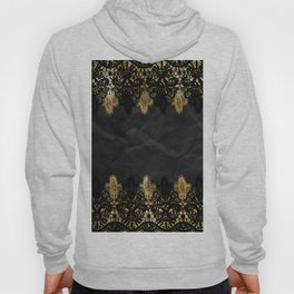 Simply elegance - Gold and black ornamental lace on black paper Hoody