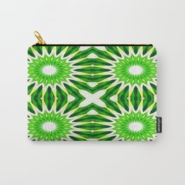 Serene Green Pinwheel Flowers Carry-All Pouch