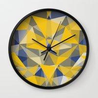 yellow pattern Wall Clocks featuring Yellow by jbjart
