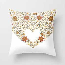 Floral heart with star anise Throw Pillow