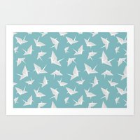 origami Art Prints featuring Origami by Albardado