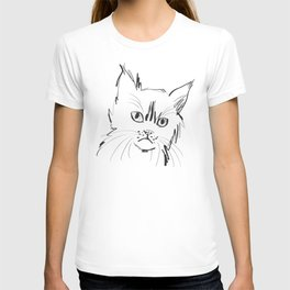 Katzen 003 / Cat Minimal Line Drawing T-shirt