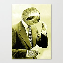 Gentleman Sloth lighting a cigarette Canvas Print
