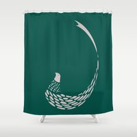 minimalist Shower Curtains featuring Minimalist Pheasant by Fernando Vieira
