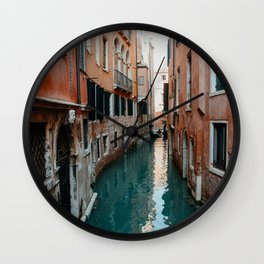 Pastel colored canals | Travel photography print Venice, Italy | Pastel colored wall art Art Print Wall Clock