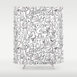 Doodle naked woman Shower Curtain