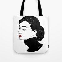 hepburn Tote Bags featuring Audrey Hepburn  by Pendientera