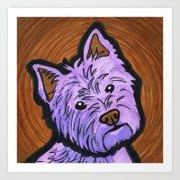 westie Art Prints featuring Purple Westie by Gianna Brucato