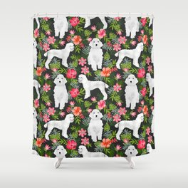 White Poodle floral hawaiian tropical dog breed dogs pet friendly pet art pattern Shower Curtain