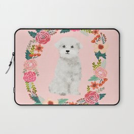 maltese floral wreath dog breed pet portrait pure breed dog lovers Laptop Sleeve
