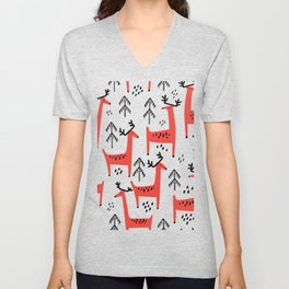 Cute red deer and fir trees. Vintage christmas hand drawn illustration pattern. Unisex V-Neck