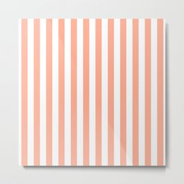 Large Peach and White Vertical Cabana Tent Stripes Metal Print