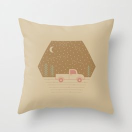 Vintage Happiness on a Dirt Road Throw Pillow