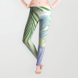 Tropical leaves pastel colors. Leggings