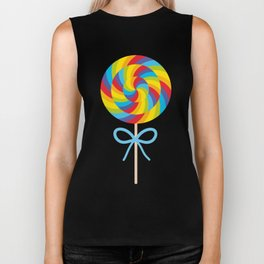 candy lollipop with bow, colorful spiral candy cane Biker Tank
