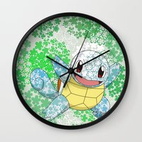 squirtle Wall Clocks featuring Squirtle by Mischievie