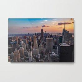 Beautiful Sunset Manhattan USA Metal Print