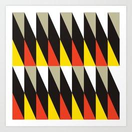 Geometric Pattern 119 (harlequin red yellow) Art Print