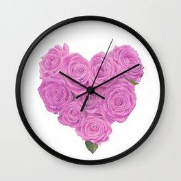 i heart roses Wall Clock