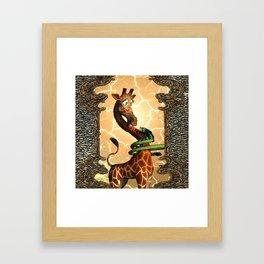 Giraffe and dragon Framed Art Print
