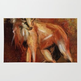 Abstract Red Fox Rug