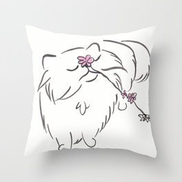 Ella Cat Upwards Pink Flower  Throw Pillow