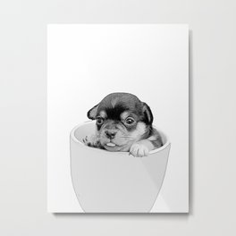 pup in a cup b&w Metal Print