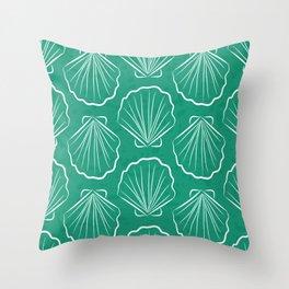 Scallop sea shells illustration. White and aqua blue. Summer ocean beach print. Throw Pillow