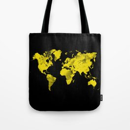 Yellow and black world map Tote Bag
